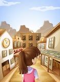Een jonge dame die naar de zaalbar gaan Stock Afbeelding