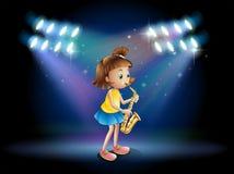 Een jonge dame in het stadium die met haar saxofoon spelen stock illustratie