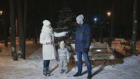 Een jonge familie verwarmt met thee in het avond de winterpark stock video