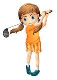 Een jonge golfspeler stock illustratie