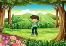 Een jonge heer bij het bos royalty-vrije illustratie