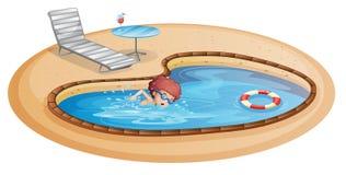 Een jonge heer die bij de pool praktizeren royalty-vrije illustratie