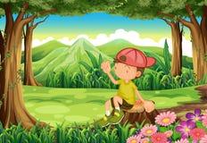 Een jonge jongen bij de boszitting boven de stomp vector illustratie