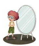 Een jonge jongen dichtbij de spiegel stock illustratie