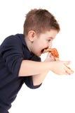 Een jonge jongen die pizza eet Royalty-vrije Stock Afbeeldingen