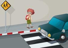 Een jonge jongen met een rugzak die zich dichtbij de voetganger bevinden stock illustratie