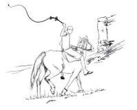 Een jonge kerelruiter die een paard berijden berijdt voorbij een klip met ranselt in zijn handen, vectorschets Royalty-vrije Stock Foto's
