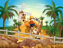 Een jonge landbouwer bij het landbouwbedrijf Royalty-vrije Stock Afbeelding