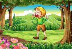 Een jonge mens die bij het bos schreeuwen stock illustratie
