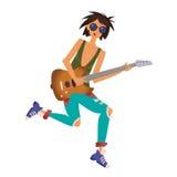 Een jonge mens die de gitaar spelen De musicus van de rots Vectorillustratie, die op witte achtergrond wordt geïsoleerd stock illustratie