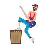 Een jonge mens die de gitaar spelen De musicus van de rots Vectorillustratie, op witte achtergrond stock illustratie