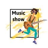Een jonge mens die de gitaar spelen De musicus van de rots stock illustratie