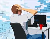 Een jonge mens die met zijn computer in het bureau werken stock illustratie