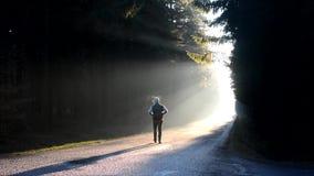 Een jonge mens die onderaan de weg in ochtendzonsopgang lopen stock footage