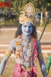 Een jonge mens kleedde zich als Lord Krishna Royalty-vrije Stock Afbeelding