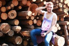Een jonge mens met gebaard Stock Foto
