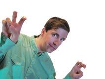 Een jonge mens toont luchtcitaten Royalty-vrije Stock Foto