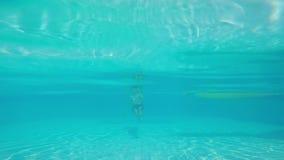 Een jonge mens zwemt onder het water in de pool stock videobeelden