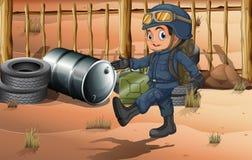Een jonge militair bij de woestijn Royalty-vrije Stock Foto's