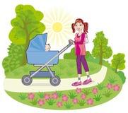 Een jonge moeder gaat voor een gang met een baby Stock Foto