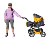 Een Jonge moederatleet met een kinderwagen Stock Foto