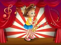 Een jonge musicus in het stadium vector illustratie
