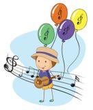 Een jonge musicus met ballons bij de rug vector illustratie