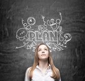 Een jonge nadenkende bedrijfsdame droomt over de bouw van een businessplan voor bedrijfsontwikkeling De schets van het businesspl Stock Afbeeldingen
