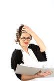 Een jonge vrouw - de zaken of de student worden beklemtoond Royalty-vrije Stock Foto