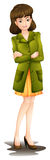 Een jonge vrouw die een groene blazer dragen Royalty-vrije Stock Afbeelding