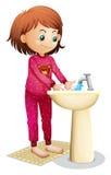 Een jonge vrouw die haar gezicht wassen stock illustratie