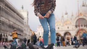 Een jonge vrouw hurkt in het vierkant en werpt brood bij duiven stock video