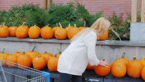Een jonge vrouw kiest een pompoen voor de vakantie van Halloween, zet hen in een boodschappenwagentje voor aankopen Dichtbij stock video