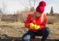 Een jonge vrouw onderzoekt zorgvuldig de zaden alvorens in de grond in de tuin op een de lentedag te planten royalty-vrije stock afbeeldingen
