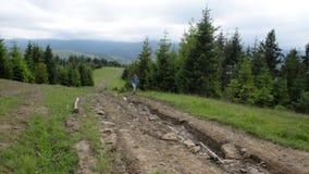 Een jonge vrouwelijke wandelaar gaat bergop Wandeling Trekking aan de Karpatische Bergen De reiziger stijgt aan de berg stock video