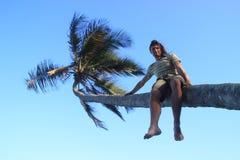 Een jonge witte mens beklom op een palm en zit op een boomstam amid een heldere blauwe hemel en een palm stock afbeeldingen
