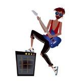 Een jonge zwarte mens die de gitaar spelen De musicus van de rots Vector illustratie, die op wit wordt geïsoleerdi stock illustratie