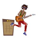 Een jonge zwarte mens die de gitaar spelen De musicus van de rots Vector illustratie, die op wit wordt geïsoleerdi vector illustratie