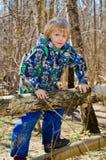 Een jongen beklimt op een boom Royalty-vrije Stock Afbeeldingen