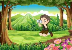 Een jongen bij het bos met een telescoop royalty-vrije illustratie