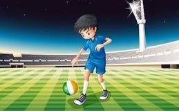 Een jongen bij het gebied die de bal met de vlag van Ierland gebruiken vector illustratie