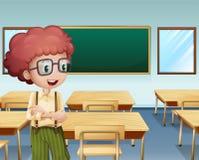 Een jongen binnen het klaslokaal stock illustratie