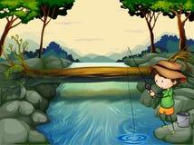 Een jongen die bij de rivier vissen stock illustratie