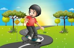 Een jongen die bij de weg met een skateboard rijden vector illustratie