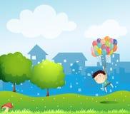 Een jongen die in de lucht met de ballons drijven vector illustratie