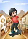 Een jongen die dichtbij de zaalbars met een skateboard rijden Royalty-vrije Stock Foto's