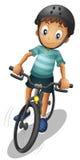 Een jongen die dragend een helm biking royalty-vrije illustratie