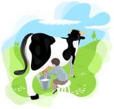 Een jongen die een koe melkt Royalty-vrije Stock Afbeelding