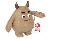 Een jongen die in een schommeling met het houten monster, 3D illustratie spelen Stock Afbeeldingen