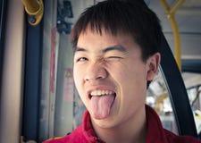 Een jongen die gezicht maken Royalty-vrije Stock Foto